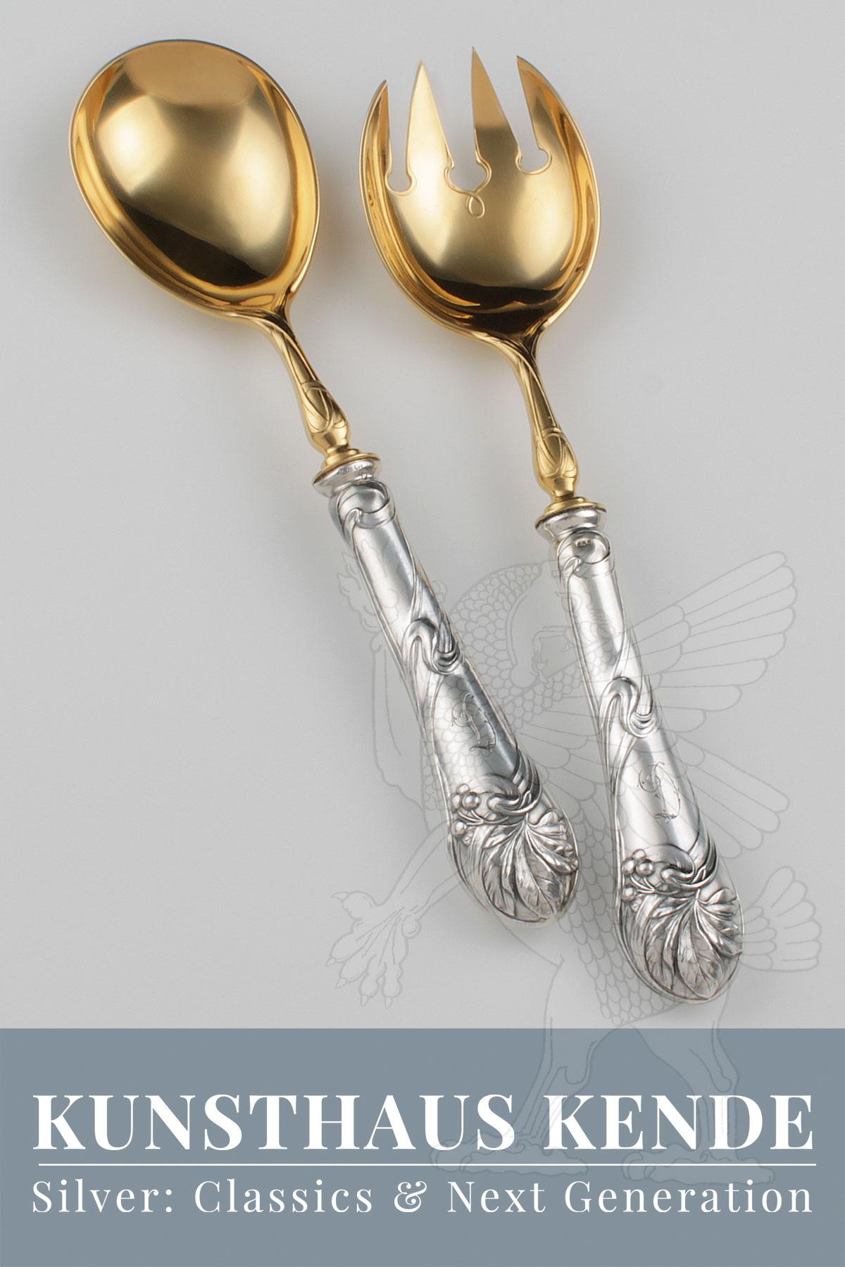 新艺术运动 银 古董 刀具 布鲁克曼父子公司沙拉架 银餐具