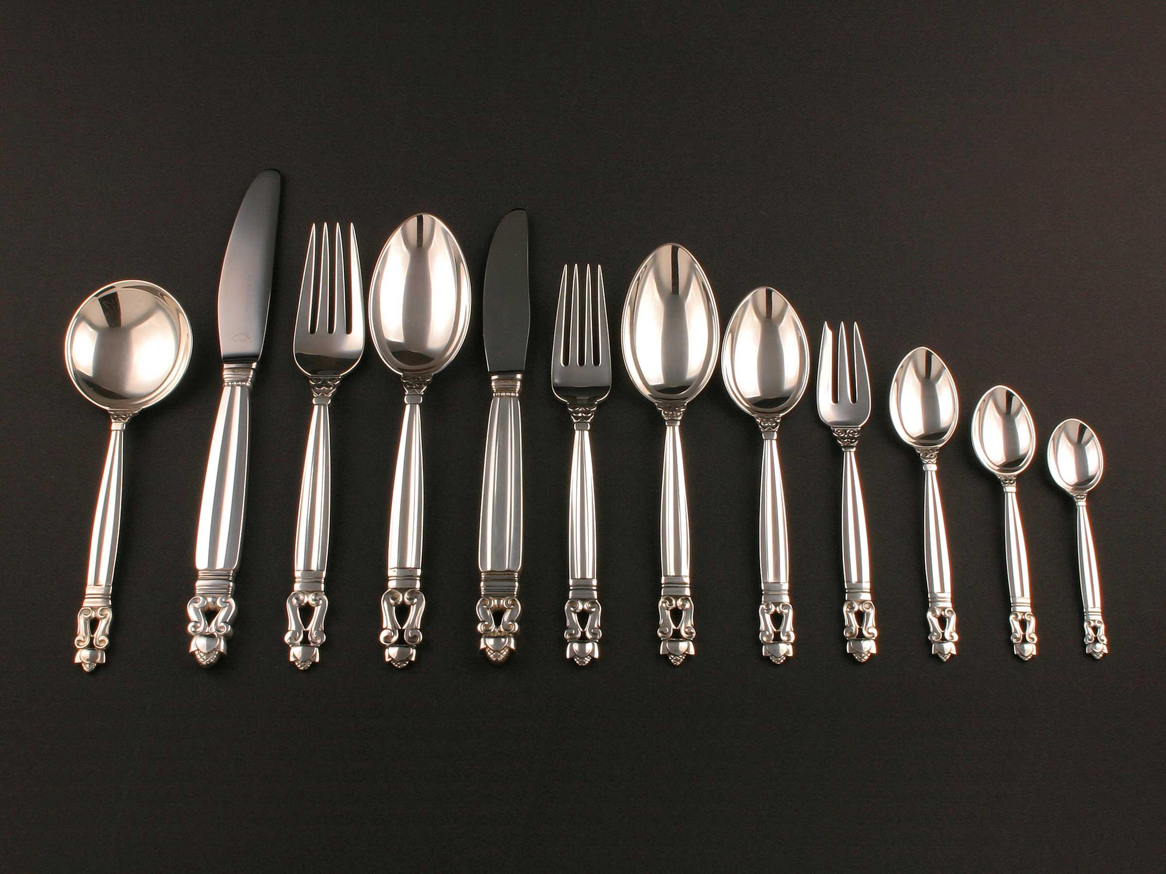 Besteck-für-sechs-Personen-Acorn-Konge,-Sterling-Silber,-Georg-Jensen-(1)