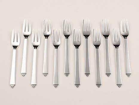 "Twelve ""Pyramid"" pattern sterling silver cake forks"