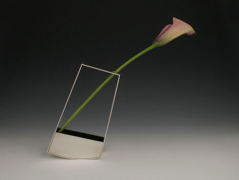 An exceptional modern sterling silver Outline Wedge Vase
