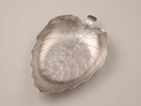 A large Britannia silver Hosta Leaf Bowl