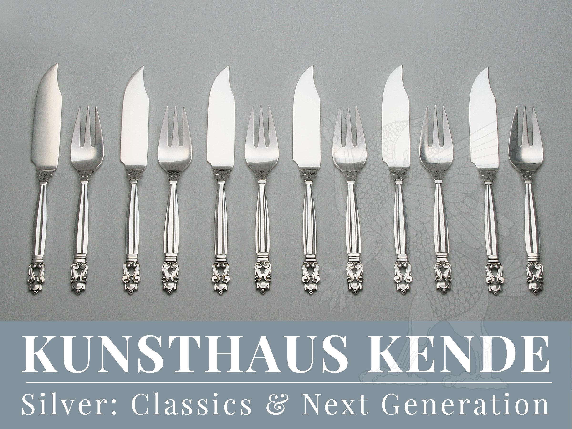 Georg Jensen Acorn Fischbesteck Silber cutlery Johan Rohde set knife arcon