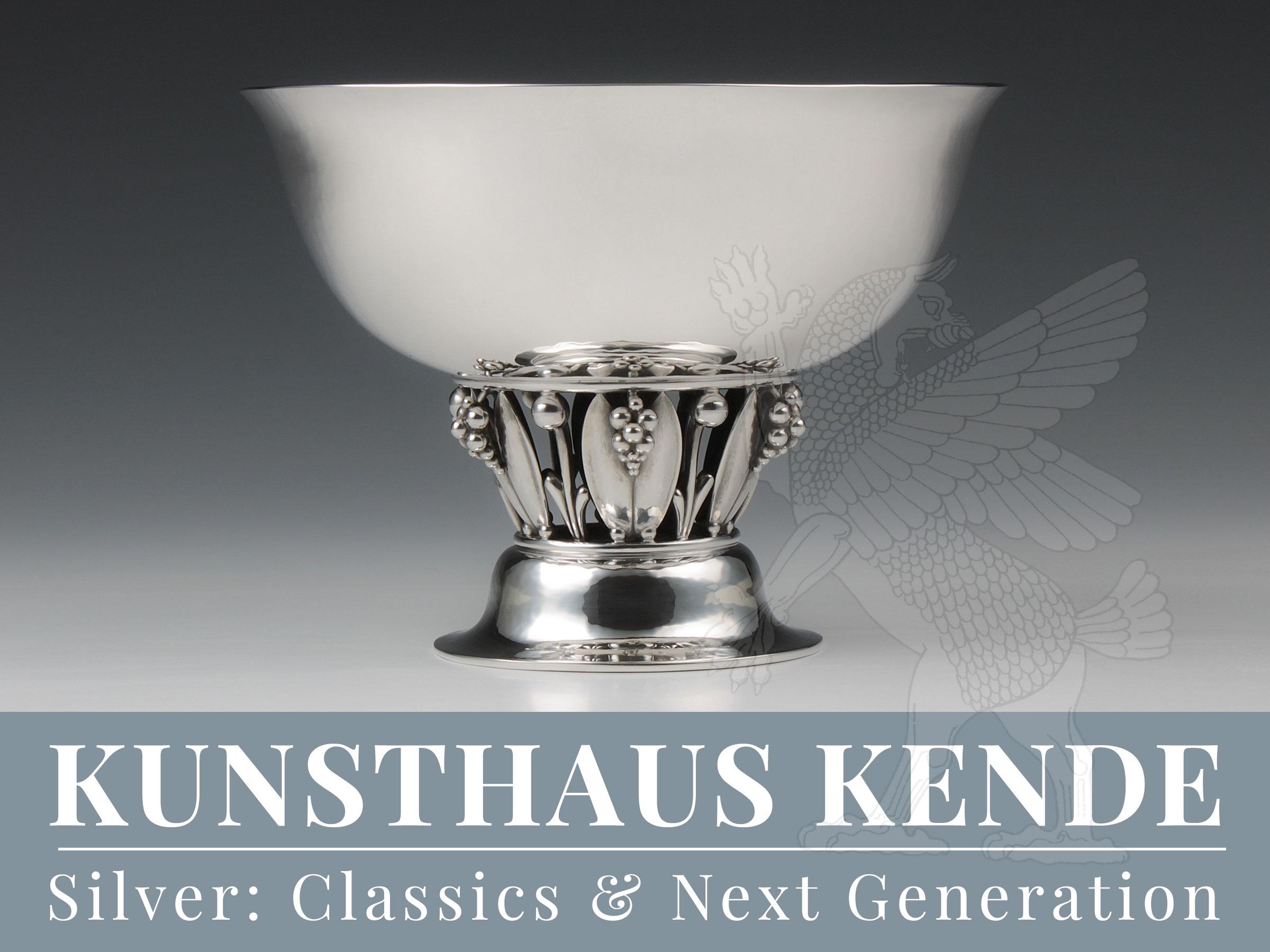 Georg Jensen Sterling Silber Schale Fußschale Jugendstil Silber Art Deco Louvre