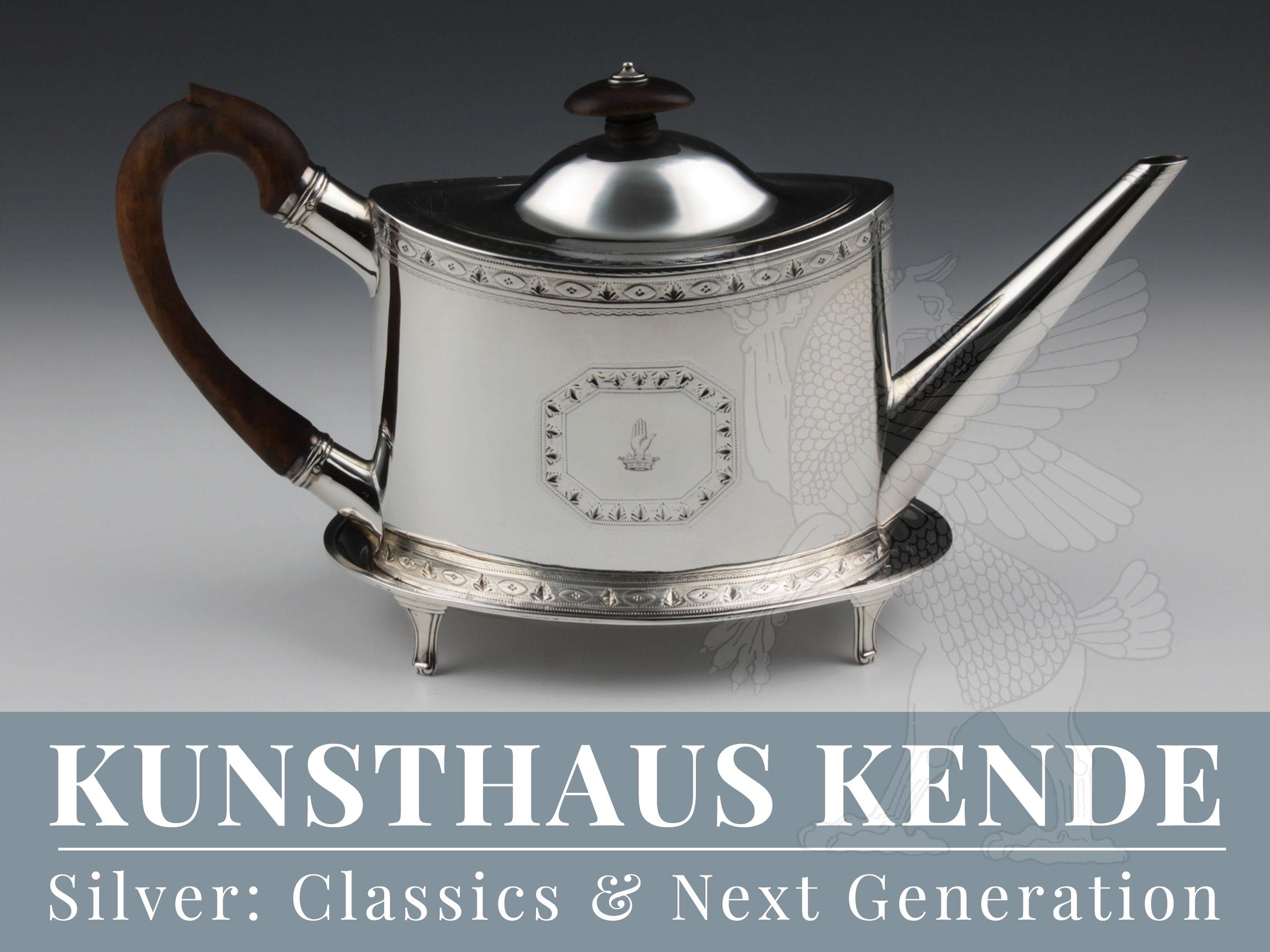 George III 925 Sterling Teekanne auf Tablett Tee Silberkanne England silberwaren