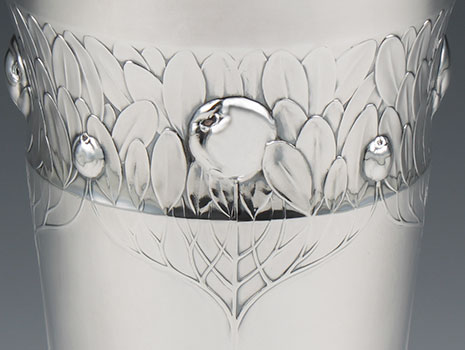 A sterling silver Art Nouveau Vase