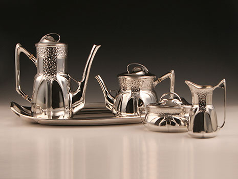 Jugendstil Silber Kaffee Tee-Service auf Tablett